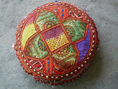 "Large floor cushion ""Desert Flower"" - gypsy round cushion cover - indian floor seating"