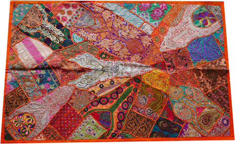 "Wall decor Indian patchwork tapestry - wall hanging ""orange bliss"" Boho wall decor colorful wall tapestry"