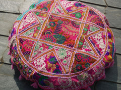 "Large floor cushion ""The Rose"" round patchwork cushion cover Boho floor pillow gypsy decor"