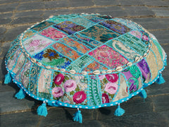 "Large floor cushion ""Summer Sky""  round patchwork cushion cover Boho floor pillow gypsy decor"