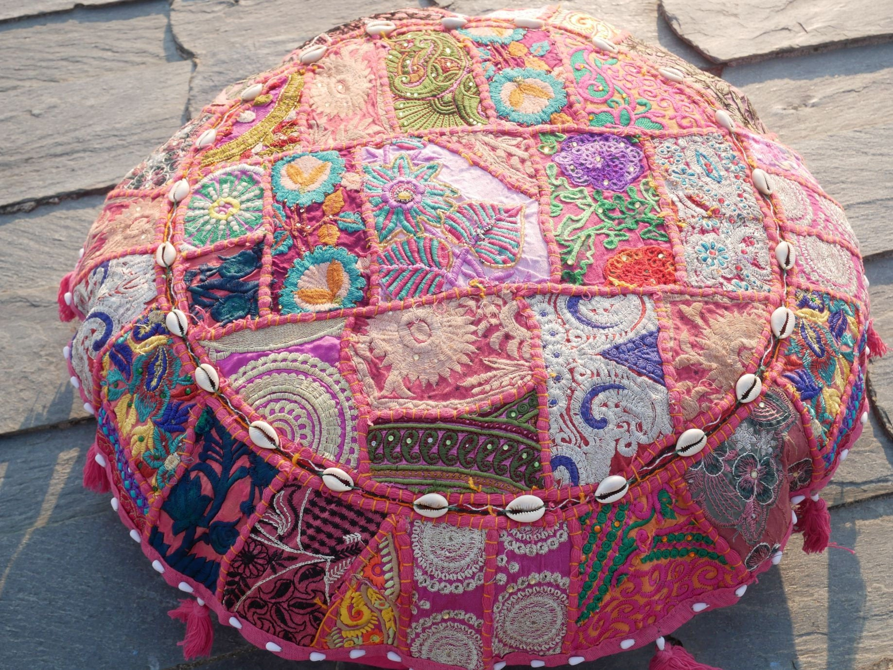 "Floor cushion ""The Rose"" - round patchwork cushion cover Boho floor pillow gypsy decor"