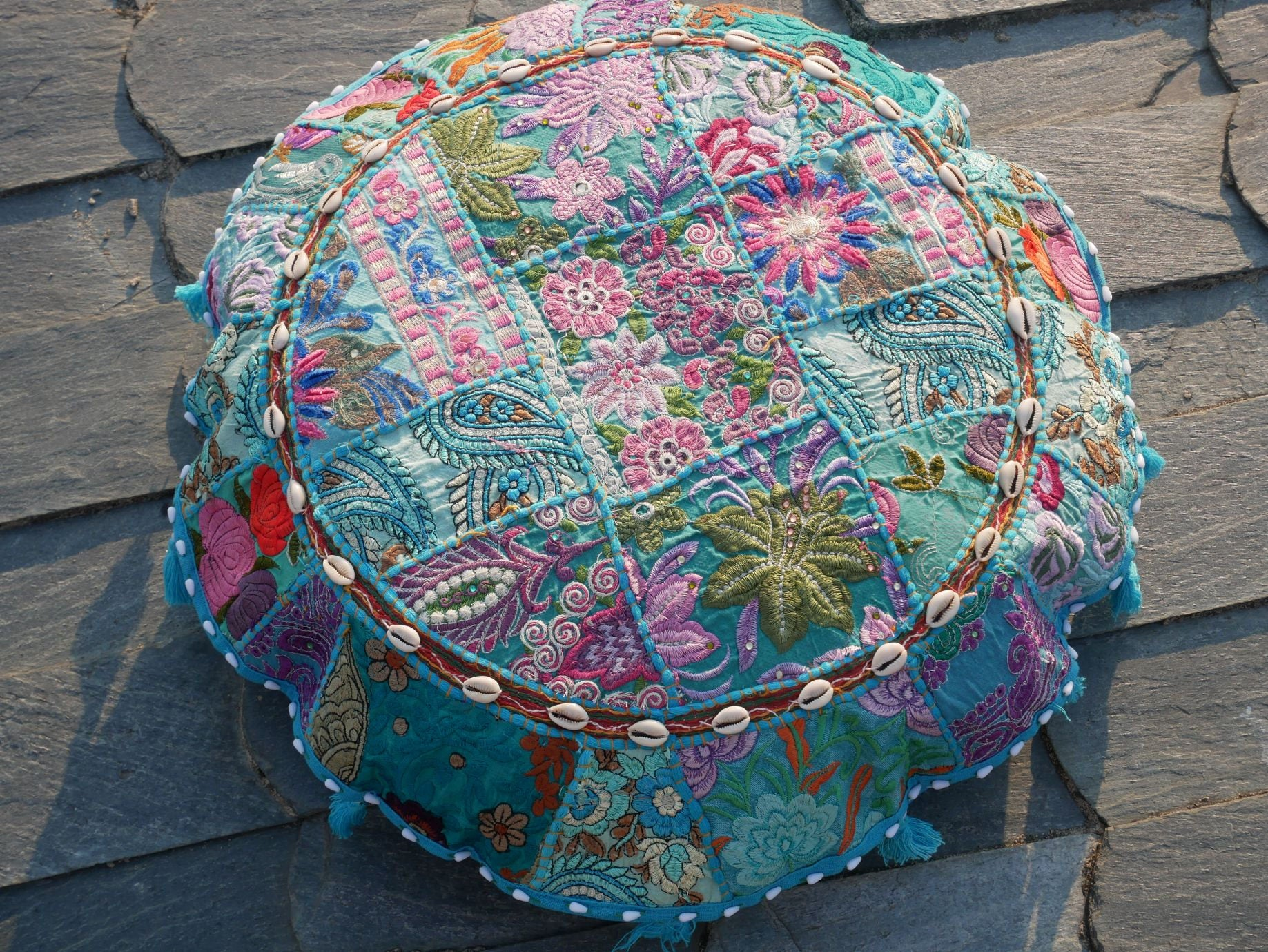 "Floor cushion ""summer sky""  round patchwork cushion cover Boho floor pillow gypsy decor"