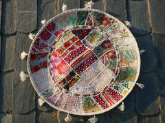 "Floor cushion ""Boho white"" - round patchwork cushion cover bohemian floor pillow gypsy decor"