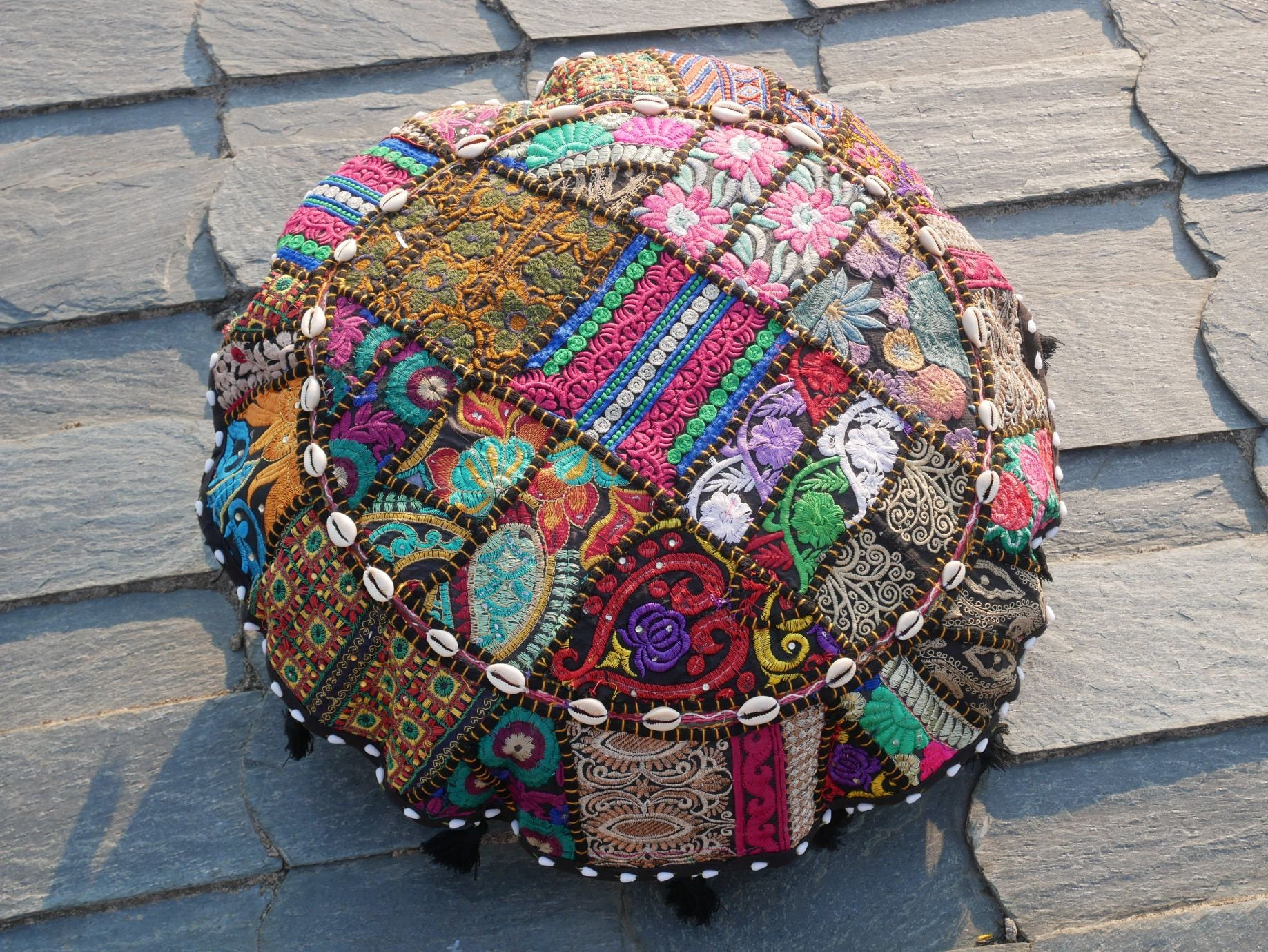 "Floor cushion ""Arabian Nights"" Bohemian floor seating round patchwork cushion cover gypsy decor"