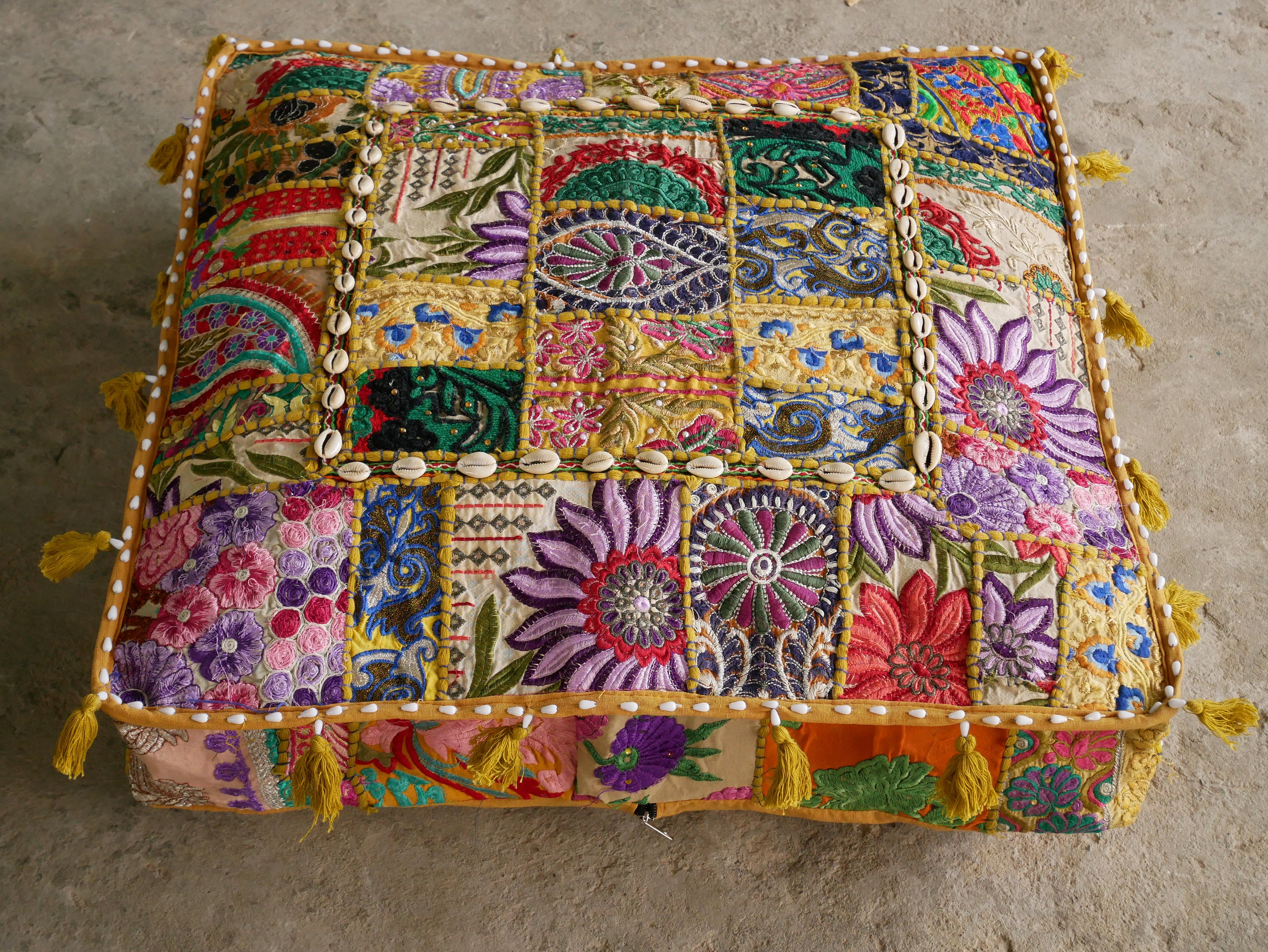 "Large square boho floor cushion ""Boho Masala"" - bohemian decor cushion cover"