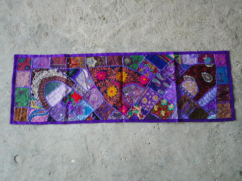 Table runner - vintage saree tapestry - purple table cover - hippie home decor