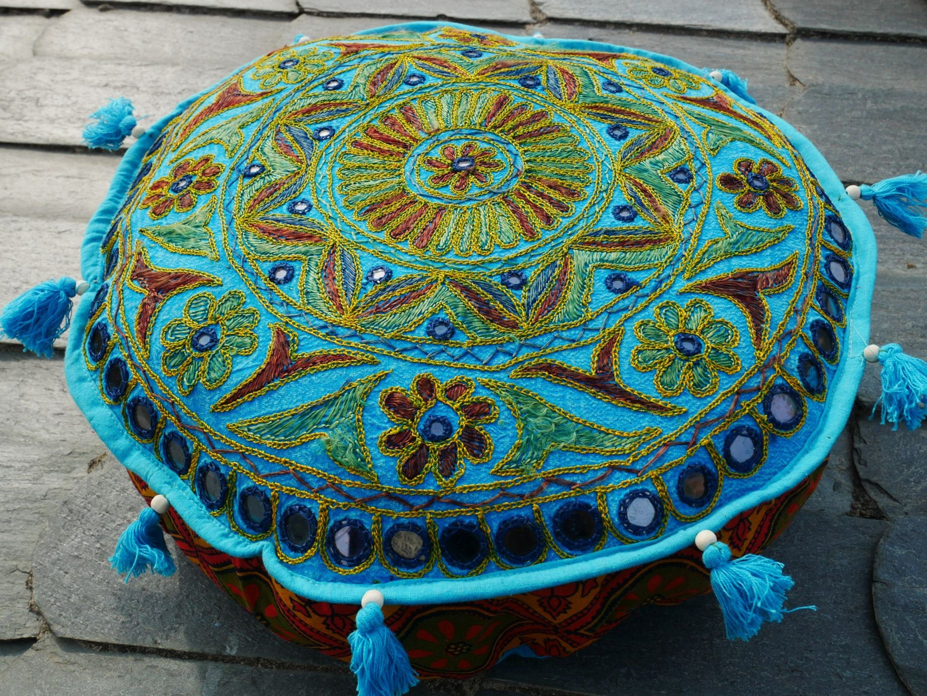 Meditation cushion - round floor cushion - decorative cushion - boho floor pillow - Mandala