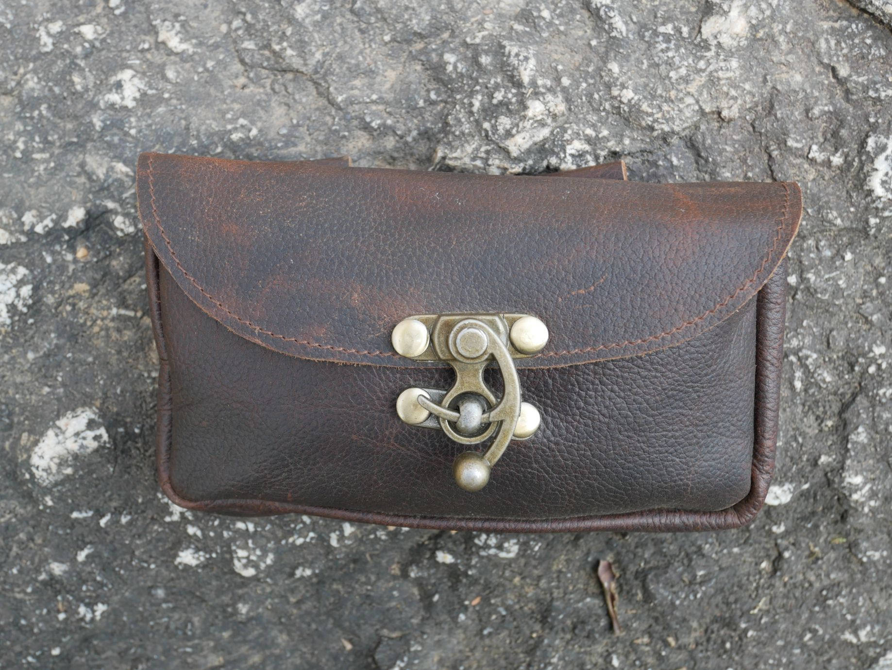 Leather belt pouch - brown leather biker pouch - money belt bag