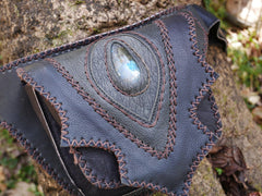 Leather tribal belt bag - black leather festival belt - with gemstone