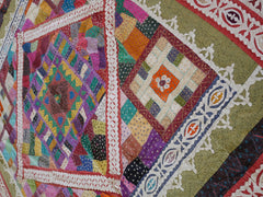 Bohemian bedding patchwork quilt hippie home decor hand embroidered Kantha throw king size