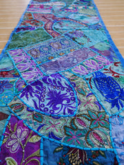 Table runner - vintage saree tapestry - blue table cover - hippie home decor
