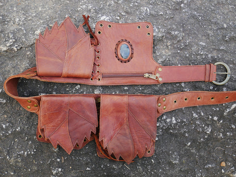 "Leather hip bag festival belt - ""Magic Stone"" - 3 pocket belt - rustic leather"