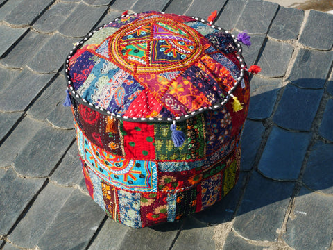 Floor pouf - floor cushion cover - Indian floor seating - Kantha patchwork floor pillow - 100% cotton