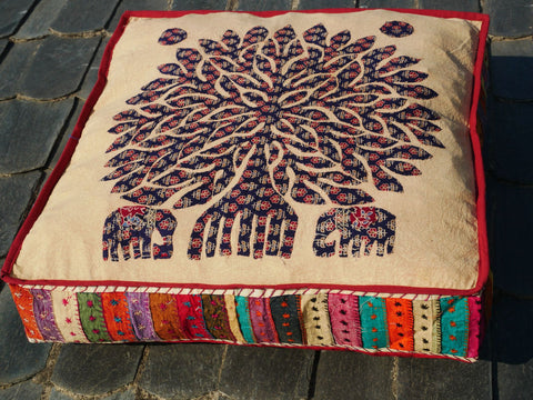 """Tree of life"" floor cushion - patchwork - cutwork - bohemian cushion cover"