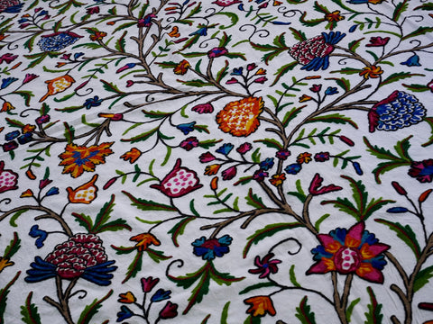 Kashmiri bedspread luxury bedding Kashmir Crewel embroidery bohemian bedding wedding gift