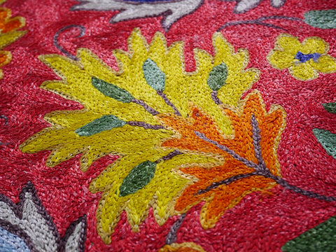 Kashmiri silk rug  3x5, area rug, Bohemian rug rug, colorful bedroom rug, boho rug chainstitch embroidery