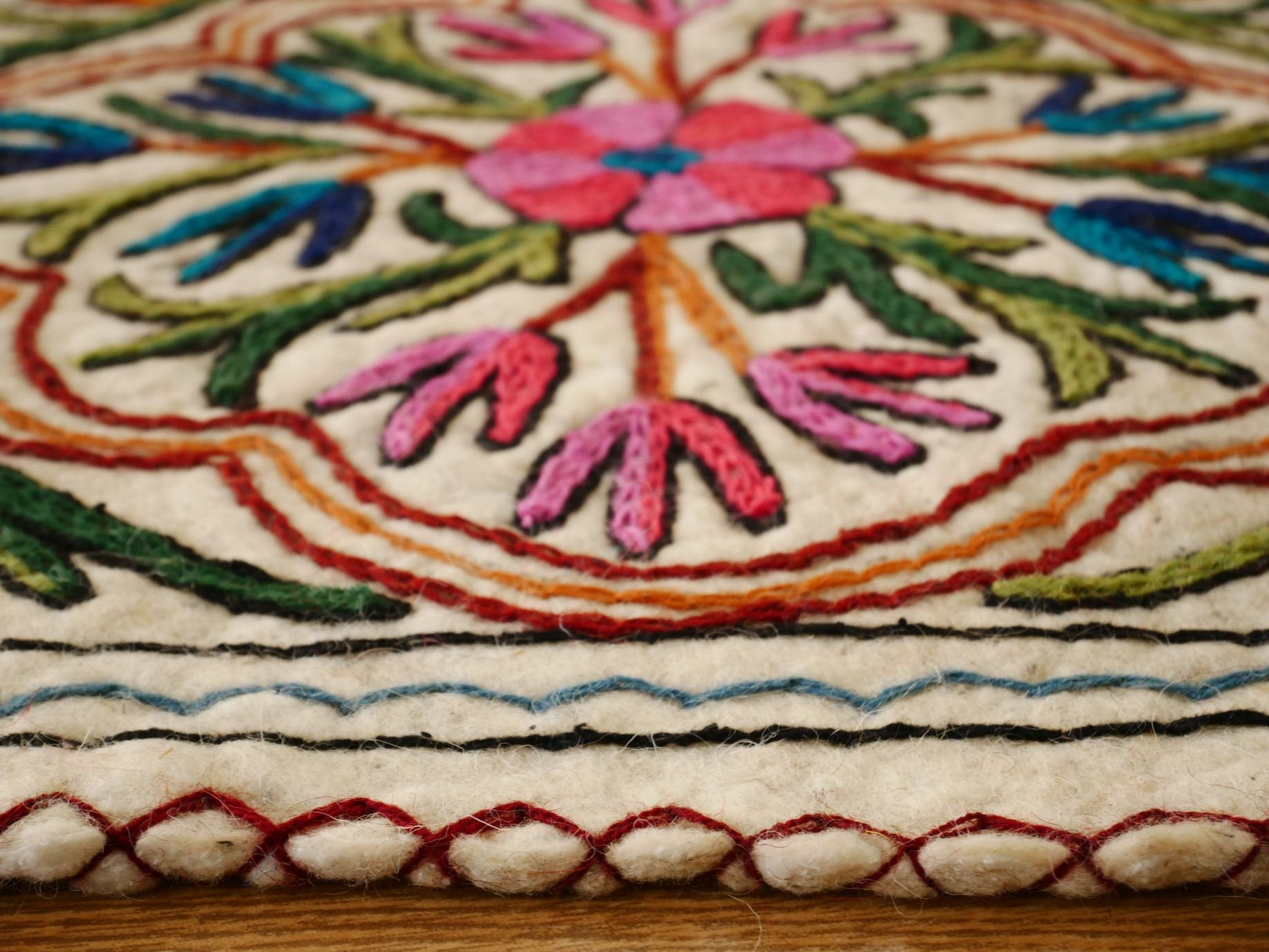Kashmiri Floor seating pad, hand felted meditation pad, made of pure wool floor pillow, felted chair pad boho seat