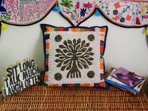 """Tree of life"" Bohemian cushion pillow cover decorative cushion for hippie decor a colorful throw pillow case with embroidery"