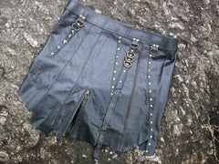 "Skirt ""urban gypsy"" black leather mini skirt festival fashion leather pixie skirt layered biker style skirt"
