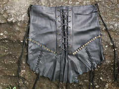 "Skirt ""shanti warrior"" Black leather skirt, festival skirt, tribal leather skirt, layered pixie skirt"