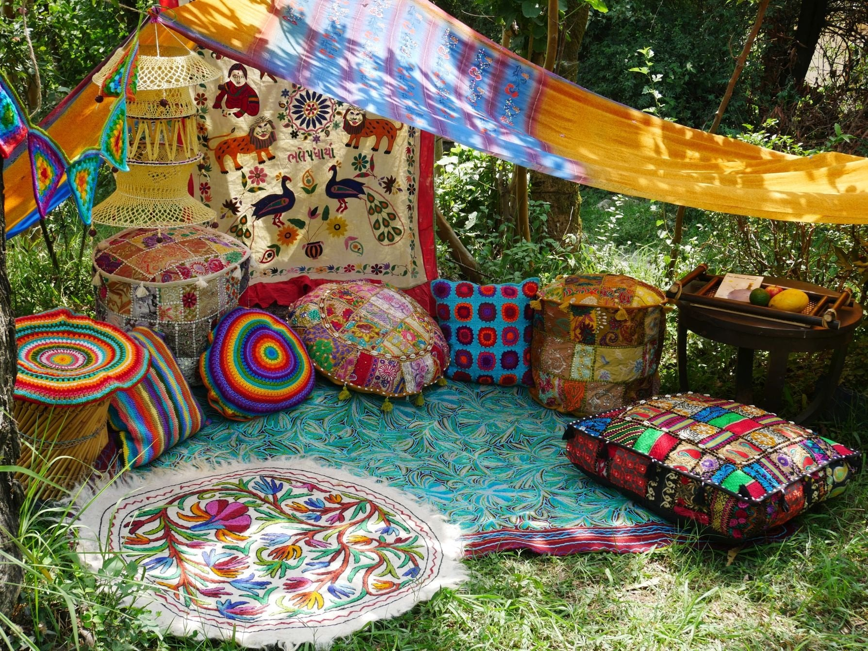 Hippie decor SET floor seating Boho canopy Yoga room Festival tent Hippie wedding Meditation space