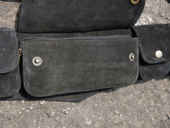 Leather utility belt 5 pocket belt festival Goa waist bag, black hip bag, 5 pocket belt