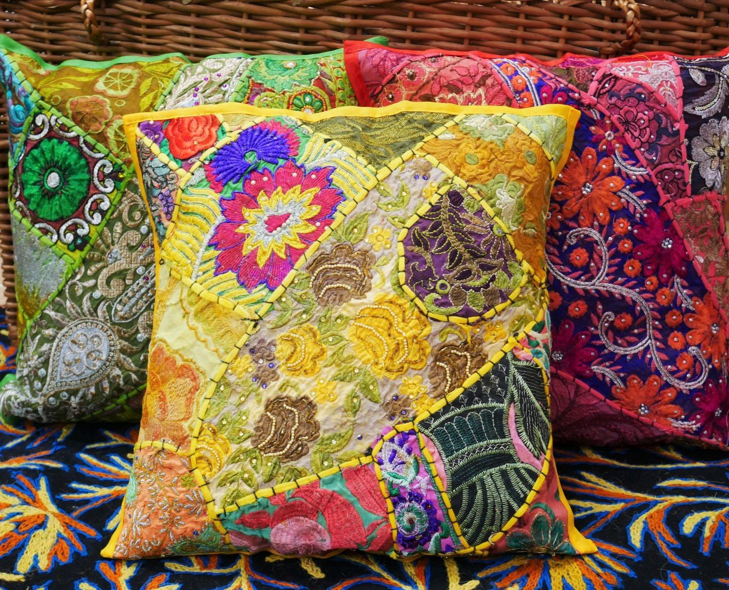 Patchwork cushion cover | decorative throw pillow | colorful boho hippie cushion 16x16 | many colors available