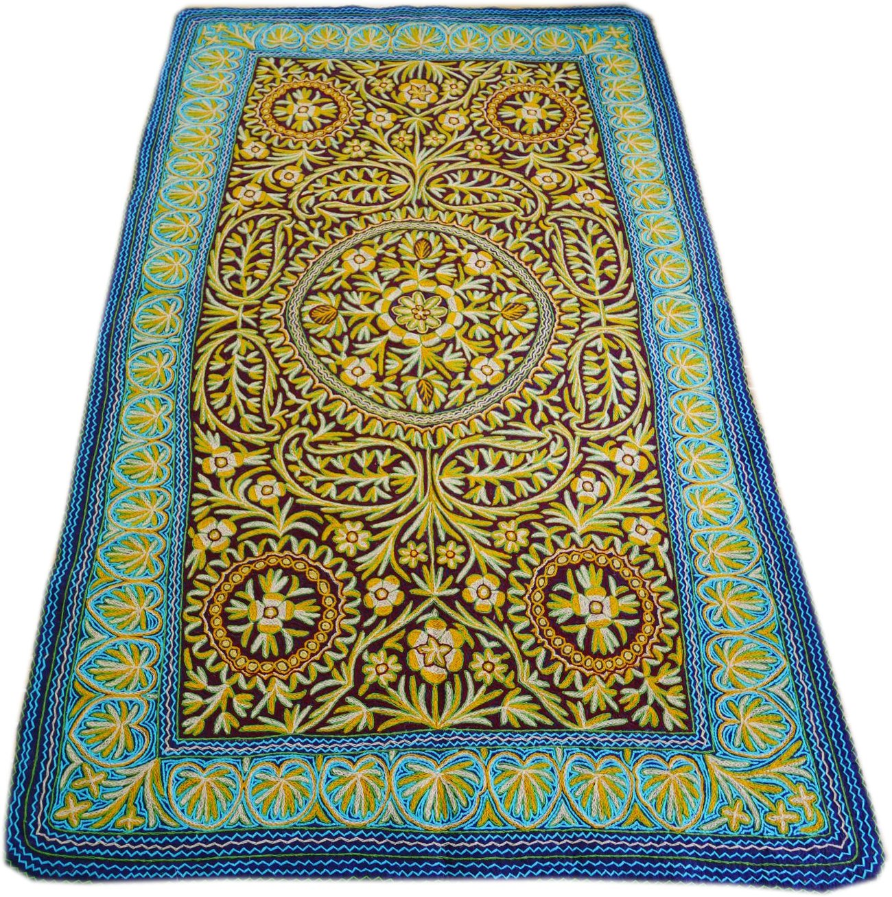 "Wool rug | boho area rug ""Jewel of Kashmir"" 10x6 traditional Namda a hand felted, embroidered, wool rug from the Himalayas"