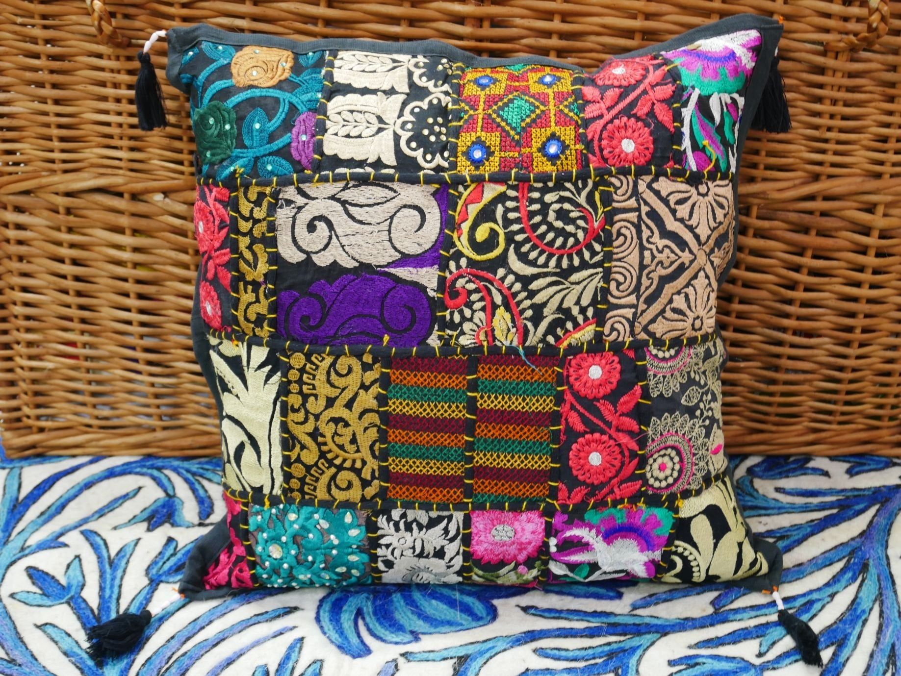 Colorful cushion cover - Patchwork pillow case - decorative throw pillow made of vintage sarees