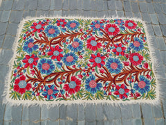 "Kashmiri ""Namda"" 6x4 felted wool rug embroidered bohemian area rug boho bedroom rug"