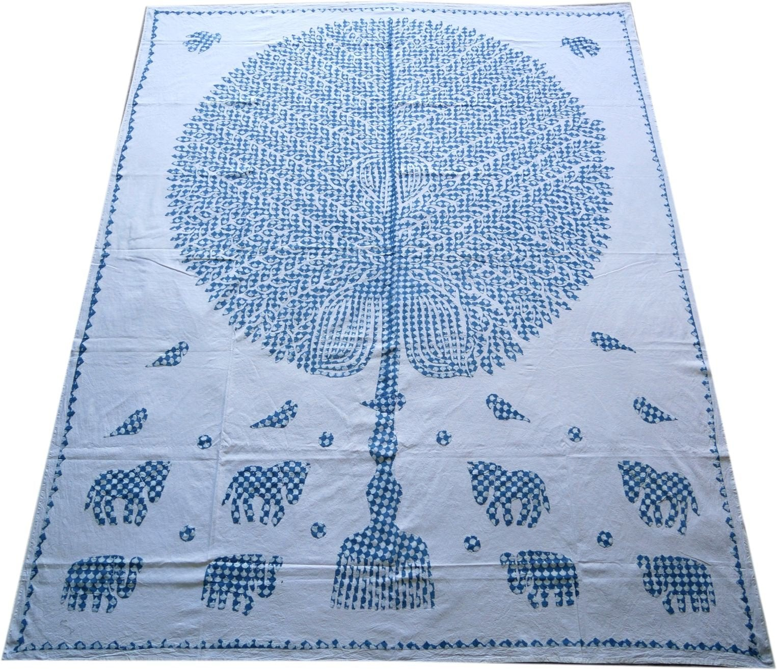 "Bohemian bedding ""Tree of life"" hippie Kantha gypsy bedding cutwork boho bedroom decor large tapestry Kantha throw - Indian bedspread king"