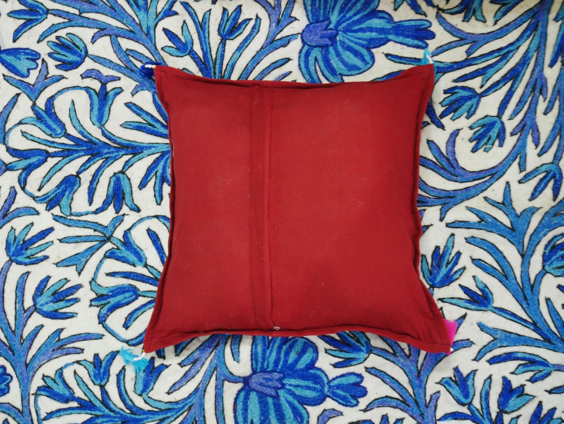 "Patchwork cushion - ""Desert flower"" Rajastani embroidery and mirrorwork - throw pillow COVER ONLY"