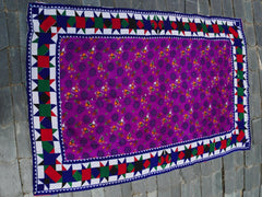 "Vintage handmade ""Ralli Quilt"" rare vintage bed throw bed spread of the Sindh Gypsies bed runner for boho bedding bohemian home decor"