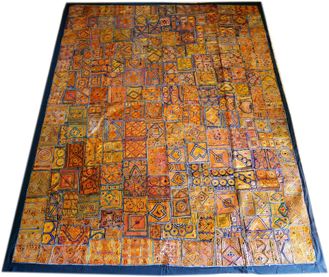 "Vintage tribal bedspread | unique ""Zari embroidery"" antique  Indian Gypsy extra large wall tapestry"