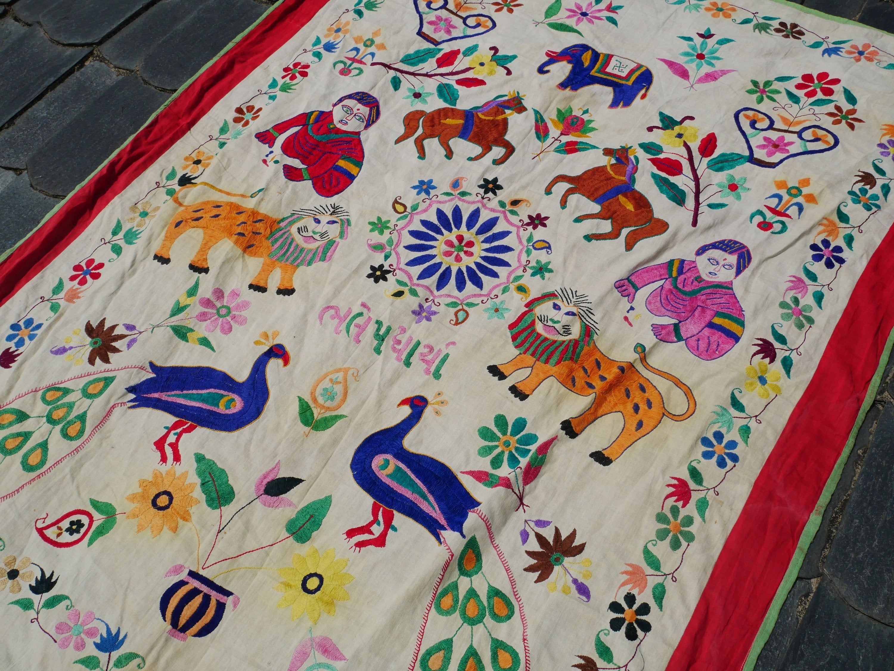 Vintage Banjara tapestry - authentic Gypsy wall art - traditional Kutch embroidery | Indian wall hanging