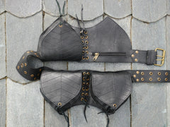 "Black leather utility belt ""3 pocket leaves"" - women leather hip bag"