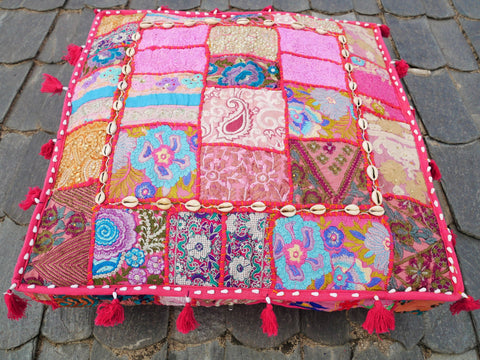 "Large square floor cushion - bohemian decorative cushion cover | ""Boho princess"" floor seating 