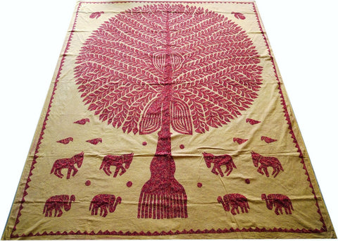 "Kantha throw ""Tree of life"" bohemian bedding 