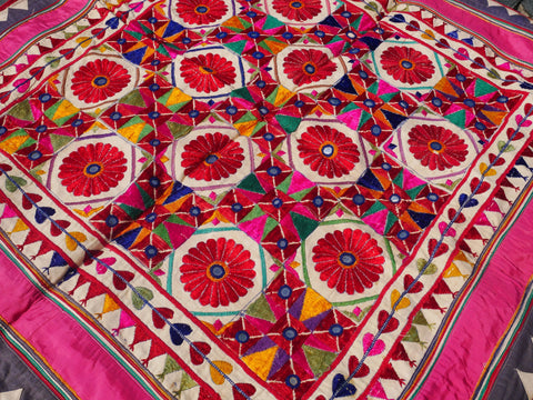 Vintage wall tapestry | Banjara Gypsy wall decor | colorful embroidered wall hanging | for bohemian hippie home decor