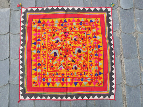 Vintage Banjara wall tapestry | Indian wall hanging | colorful embroidered tribal textile art for boho wall decor