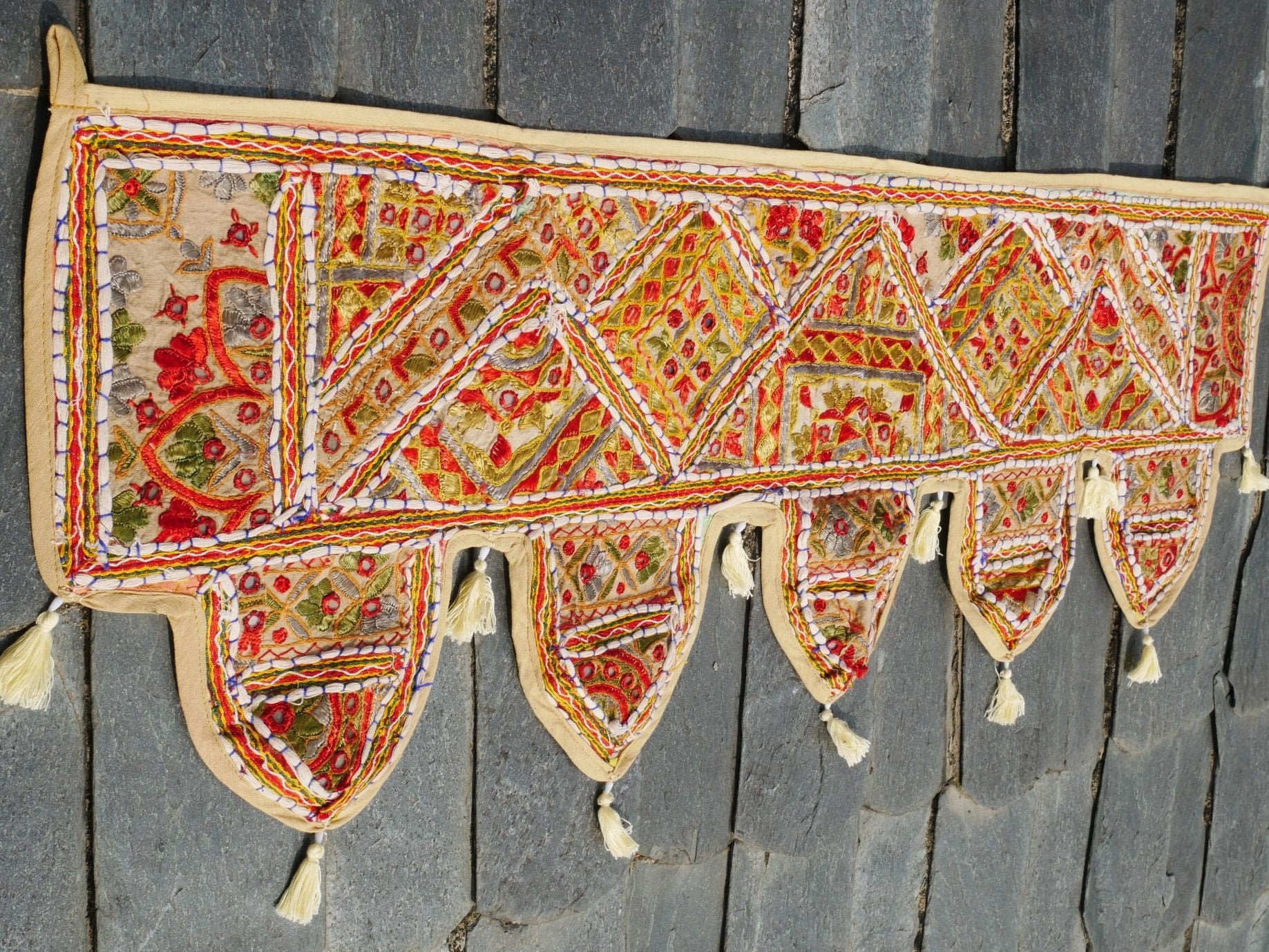 "Door Toran - Indian door hanging ""Boho Masala"" Indian colorful, handmade door valance, window decor, hippie boho wall decor"