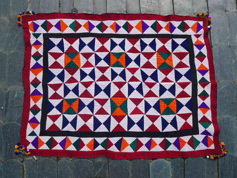 "Vintage authentic Gypsy bedding - bed spread handmade ""Ralli Quilt"" rare unique bed throw of the Sindh Gypsies"