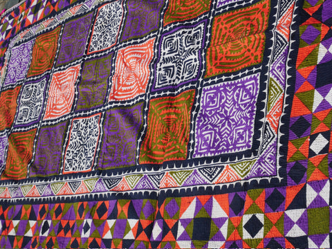 "Vintage tribal bed spread | handmade ""Ralli Quilt"" rare unique bed throw of the Sindh Gypsies for bohemian beddroom decor"