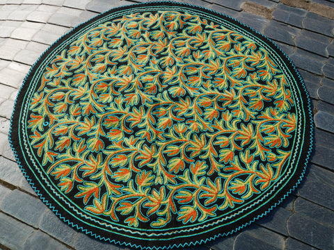"Kashmiri ""Namda"" Round rug 6f felted wool rug 