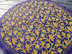 "Kashmiri ""Namda"" large round rug - hand felted and embroidered rug made of pure wool bohemian - boho style"