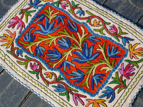 Kashmiri Namda - Handmade rug mat | 2x3 small boho accent rug made of pure wool hand felted and embroidered from Kashmir, India