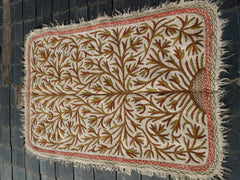 "Kashmiri ""Namda"" wool rug 6x4 white hand felted and embroidered area rug 