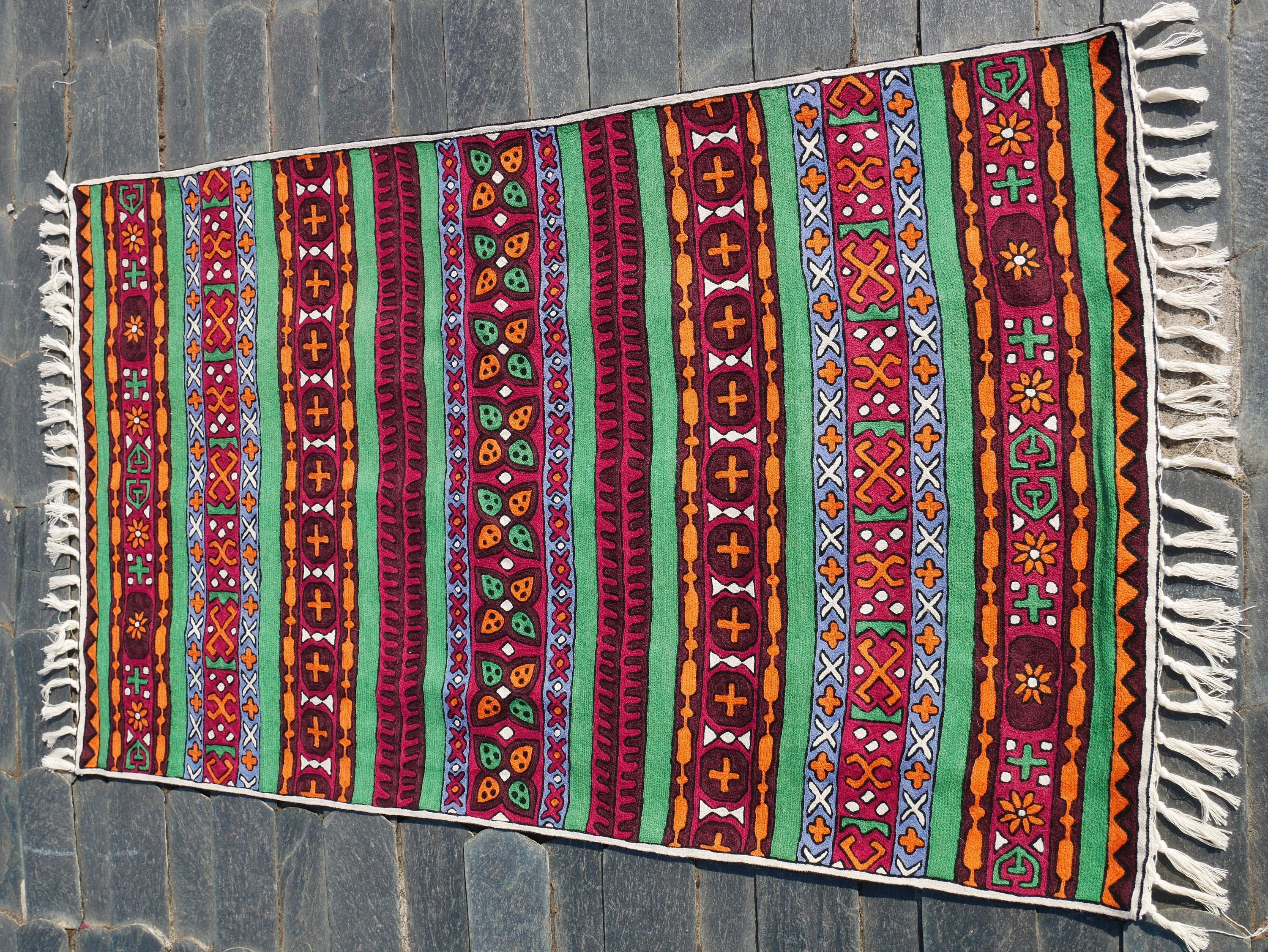 Kashmiri wool rug 3x5 traditional handmade rug | tribal geometric embroidery | runner rug