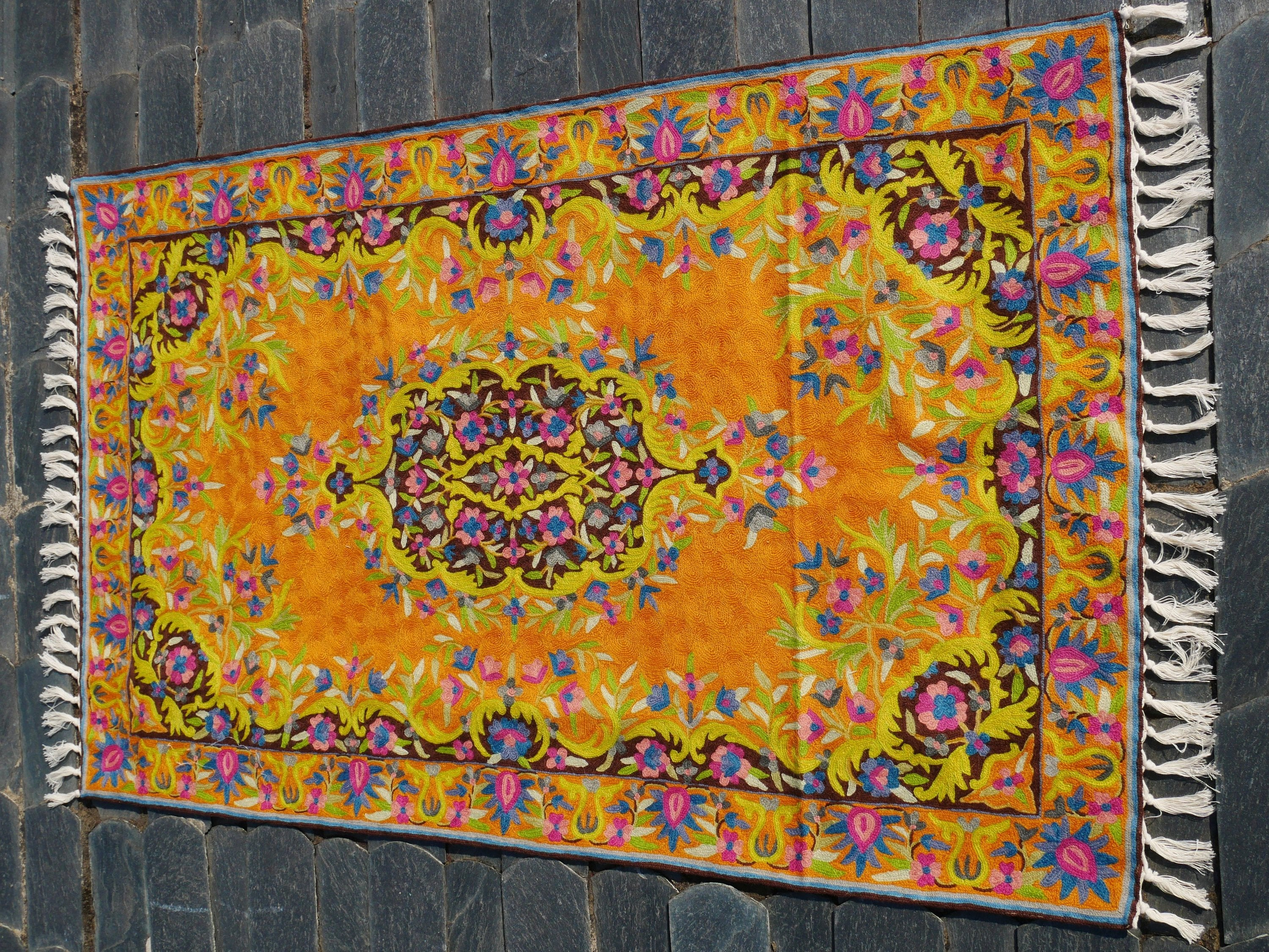 "Kashmiri embroidery rug ""Dream of Kashmir"" 3x5 traditional handmade rug 