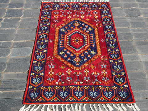 Kashmiri wool rug 3x5 multicolor | tribal geometric embroidery | runner rug for boho bedrooms and oriental wall decor